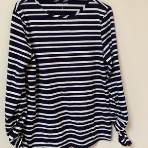 Blue & white top with long sleeves ruching size 8